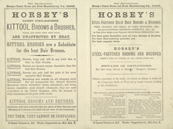 Advert For Horsey's Brooms & Brushes reverse